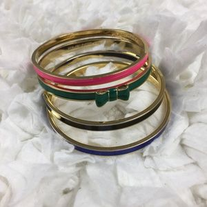 Kate Spade Bangles Set of 4; Pink Green Blue Black